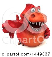 3d Red Tommy Tyrannosaurus Rex Dinosaur Mascot Holding Up A Thumb Down On A White Background