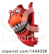 Poster, Art Print Of 3d Red Tommy Tyrannosaurus Rex Dinosaur Mascot Looking Around A Sign On A White Background