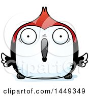 Clipart Graphic Of A Cartoon Surprised Woodpecker Character Mascot Royalty Free Vector Illustration
