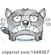 Clipart Graphic Of A Cartoon Scared Wolf Character Mascot Royalty Free Vector Illustration by Cory Thoman