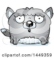 Clipart Graphic Of A Cartoon Surprised Wolf Character Mascot Royalty Free Vector Illustration