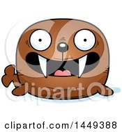 Clipart Graphic Of A Cartoon Happy Walrus Character Mascot Royalty Free Vector Illustration