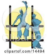 Two Cowboys By A Fence At A Rodeo Silhouetted By A Bright Light Clipart Illustration by Andy Nortnik