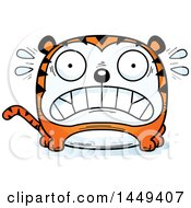 Clipart Graphic Of A Cartoon Scared Tiger Character Mascot Royalty Free Vector Illustration