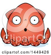 Clipart Graphic Of A Cartoon Surprised Squid Character Mascot Royalty Free Vector Illustration