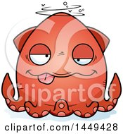 Clipart Graphic Of A Cartoon Drunk Squid Character Mascot Royalty Free Vector Illustration by Cory Thoman