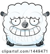 Cartoon Grinning Sheep Character Mascot