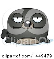 Clipart Graphic Of A Cartoon Bored Seal Character Mascot Royalty Free Vector Illustration