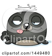 Clipart Graphic Of A Cartoon Drunk Seal Character Mascot Royalty Free Vector Illustration