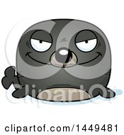 Clipart Graphic Of A Cartoon Evil Seal Character Mascot Royalty Free Vector Illustration