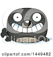 Clipart Graphic Of A Cartoon Grinning Seal Character Mascot Royalty Free Vector Illustration
