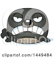 Clipart Graphic Of A Cartoon Mad Seal Character Mascot Royalty Free Vector Illustration
