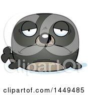 Clipart Graphic Of A Cartoon Sad Seal Character Mascot Royalty Free Vector Illustration