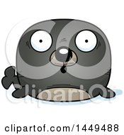 Clipart Graphic Of A Cartoon Surprised Seal Character Mascot Royalty Free Vector Illustration