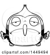 Clipart Graphic Of A Cartoon Black And White Lineart Sad Woodpecker Character Mascot Royalty Free Vector Illustration
