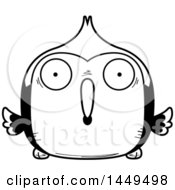 Clipart Graphic Of A Cartoon Black And White Lineart Surprised Woodpecker Character Mascot Royalty Free Vector Illustration