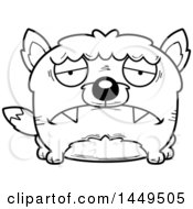 Clipart Graphic Of A Cartoon Black And White Lineart Sad Wolf Character Mascot Royalty Free Vector Illustration by Cory Thoman