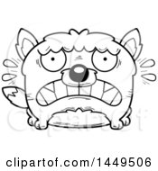 Clipart Graphic Of A Cartoon Black And White Lineart Scared Wolf Character Mascot Royalty Free Vector Illustration by Cory Thoman