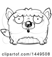 Clipart Graphic Of A Cartoon Black And White Lineart Surprised Wolf Character Mascot Royalty Free Vector Illustration