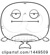 Clipart Graphic Of A Cartoon Black And White Lineart Bored Whale Character Mascot Royalty Free Vector Illustration