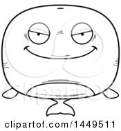 Clipart Graphic Of A Cartoon Black And White Lineart Evil Whale Character Mascot Royalty Free Vector Illustration