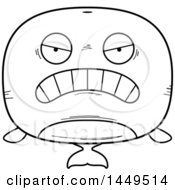 Clipart Graphic Of A Cartoon Black And White Lineart Mad Whale Character Mascot Royalty Free Vector Illustration