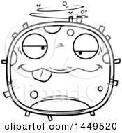 Clipart Graphic Of A Cartoon Black And White Lineart Drunk Cell Character Mascot Royalty Free Vector Illustration