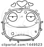 Cartoon Black And White Lineart Loving Cell Character Mascot