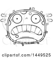 Clipart Graphic Of A Cartoon Black And White Lineart Scared Cell Character Mascot Royalty Free Vector Illustration