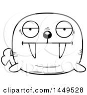 Clipart Graphic Of A Cartoon Black And White Lineart Bored Walrus Character Mascot Royalty Free Vector Illustration by Cory Thoman