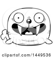 Clipart Graphic Of A Cartoon Black And White Lineart Happy Walrus Character Mascot Royalty Free Vector Illustration by Cory Thoman