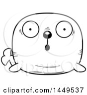 Clipart Graphic Of A Cartoon Black And White Lineart Surprised Walrus Character Mascot Royalty Free Vector Illustration
