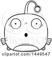 Clipart Graphic Of A Cartoon Black And White Lineart Surprised Viperfish Character Mascot Royalty Free Vector Illustration by Cory Thoman