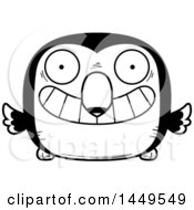 Clipart Graphic Of A Cartoon Black And White Lineart Grinning Toucan Bird Character Mascot Royalty Free Vector Illustration
