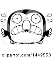 Clipart Graphic Of A Cartoon Black And White Lineart Scared Toucan Bird Character Mascot Royalty Free Vector Illustration