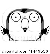 Clipart Graphic Of A Cartoon Black And White Lineart Surprised Toucan Bird Character Mascot Royalty Free Vector Illustration