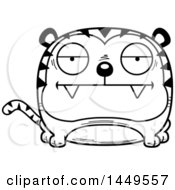 Clipart Graphic Of A Cartoon Black And White Lineart Bored Tiger Character Mascot Royalty Free Vector Illustration