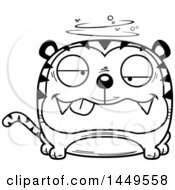 Clipart Graphic Of A Cartoon Black And White Lineart Drunk Tiger Character Mascot Royalty Free Vector Illustration