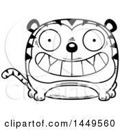 Clipart Graphic Of A Cartoon Black And White Lineart Grinning Tiger Character Mascot Royalty Free Vector Illustration