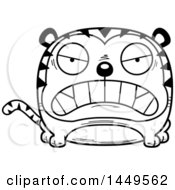 Clipart Graphic Of A Cartoon Black And White Lineart Mad Tiger Character Mascot Royalty Free Vector Illustration