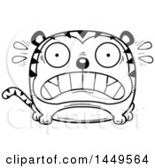 Clipart Graphic Of A Cartoon Black And White Lineart Scared Tiger Character Mascot Royalty Free Vector Illustration