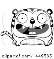 Clipart Graphic Of A Cartoon Black And White Lineart Happy Tiger Character Mascot Royalty Free Vector Illustration