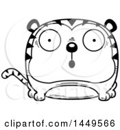 Clipart Graphic Of A Cartoon Black And White Lineart Surprised Tiger Character Mascot Royalty Free Vector Illustration