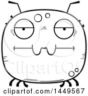 Clipart Graphic Of A Cartoon Black And White Lineart Bored Tick Character Mascot Royalty Free Vector Illustration by Cory Thoman
