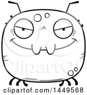 Clipart Graphic Of A Cartoon Black And White Lineart Evil Tick Character Mascot Royalty Free Vector Illustration by Cory Thoman