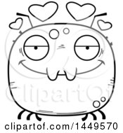 Clipart Graphic Of A Cartoon Black And White Lineart Loving Tick Character Mascot Royalty Free Vector Illustration by Cory Thoman