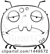 Clipart Graphic Of A Cartoon Black And White Lineart Sad Tick Character Mascot Royalty Free Vector Illustration by Cory Thoman