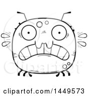 Clipart Graphic Of A Cartoon Black And White Lineart Scared Tick Character Mascot Royalty Free Vector Illustration by Cory Thoman
