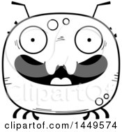 Clipart Graphic Of A Cartoon Black And White Lineart Happy Tick Character Mascot Royalty Free Vector Illustration by Cory Thoman