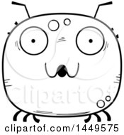 Clipart Graphic Of A Cartoon Black And White Lineart Surprised Tick Character Mascot Royalty Free Vector Illustration